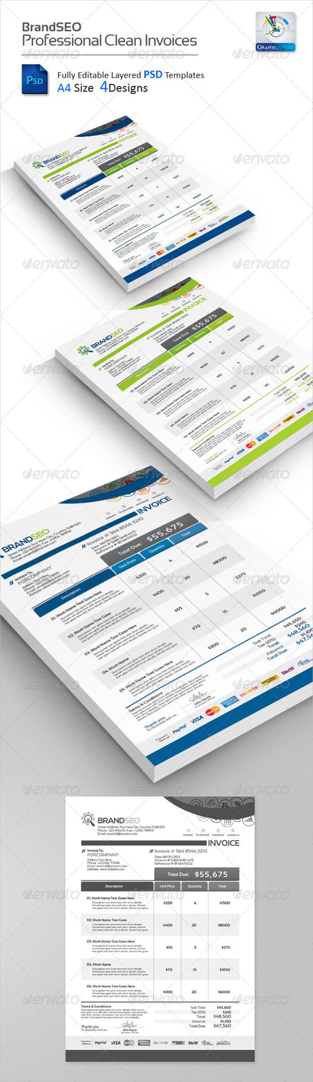 BrandSEO Creative PSD Invoices