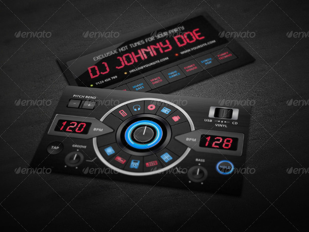 Creative Digital DJ Business Card PSD Template