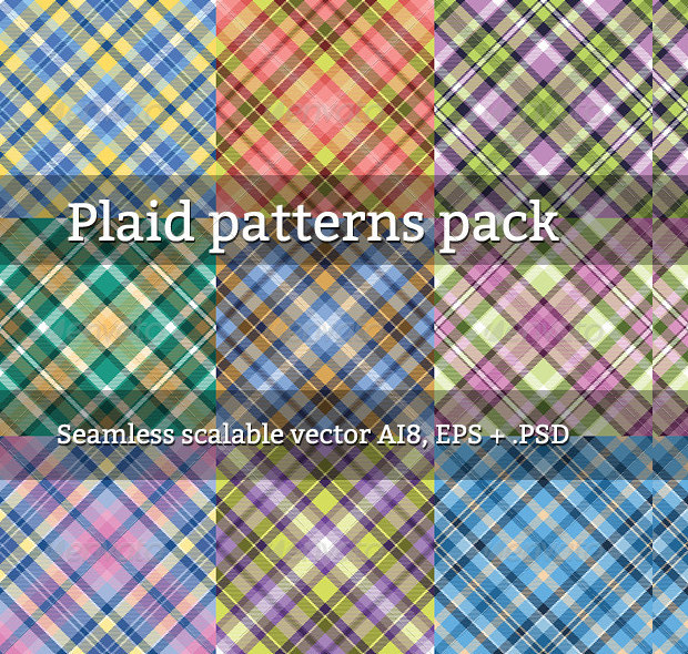 Set Of Colorful Plaid Patterns