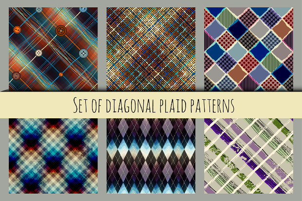 6 Diagonal Plaid Patterns