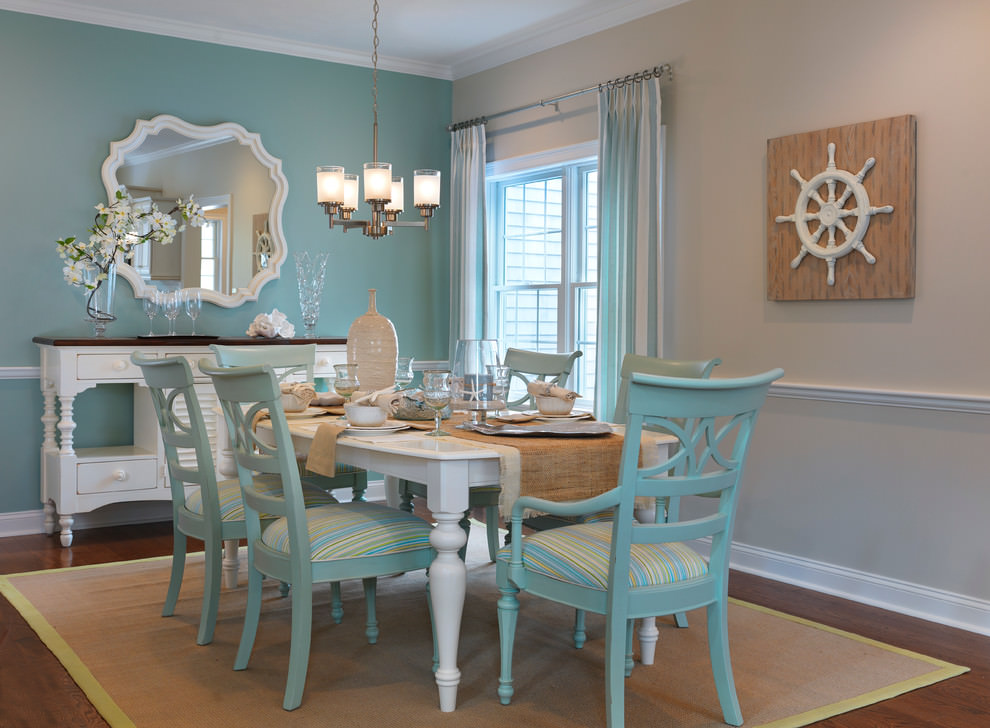 transitional modern blue dining room design