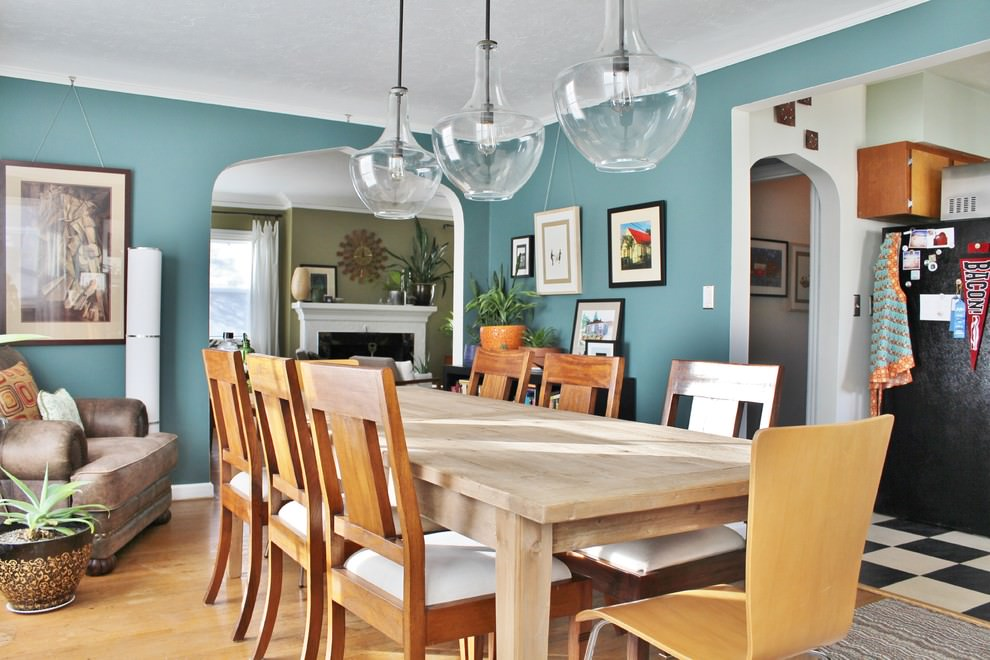 trendy blue dining room design