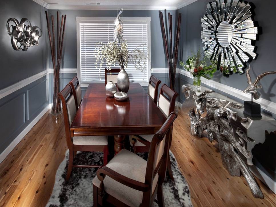bright gray dining room design