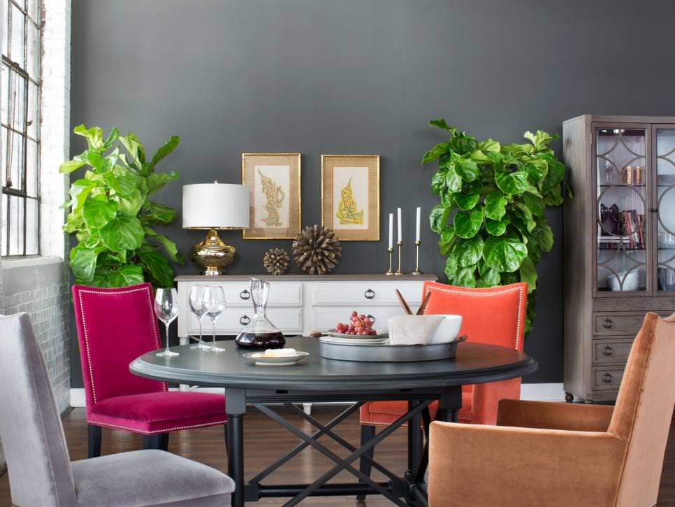 eclectic mix of furniture in gray dining room