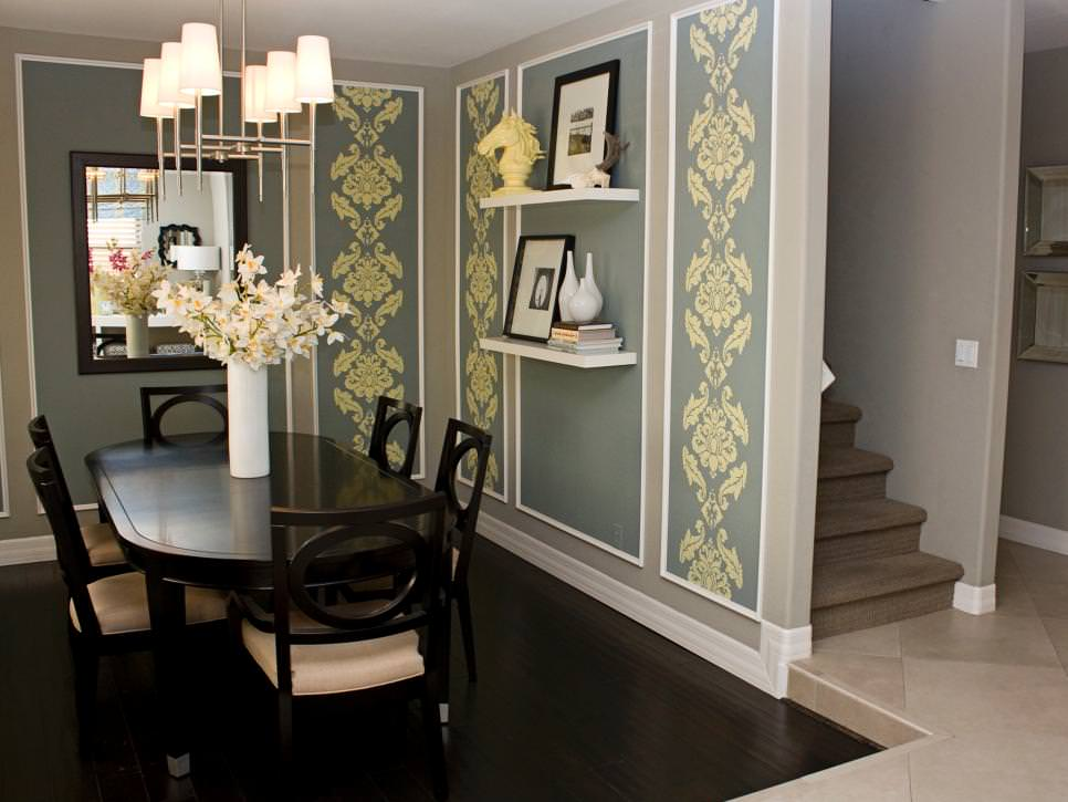 gray dining room with dark wood dining table