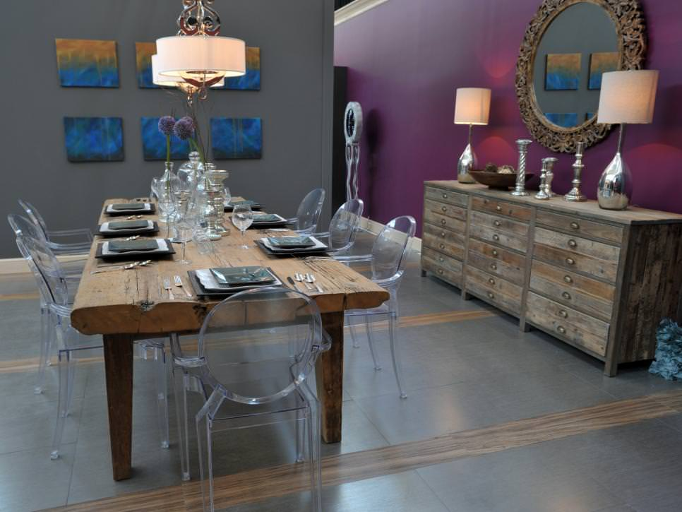 gray dining room with rustic dining table