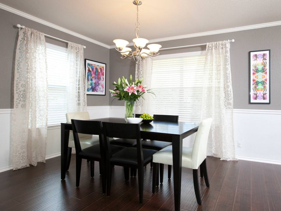 gray transitional dining room