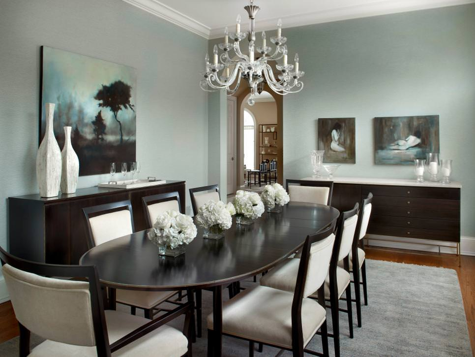 gray and white transitional dining room with chandelier