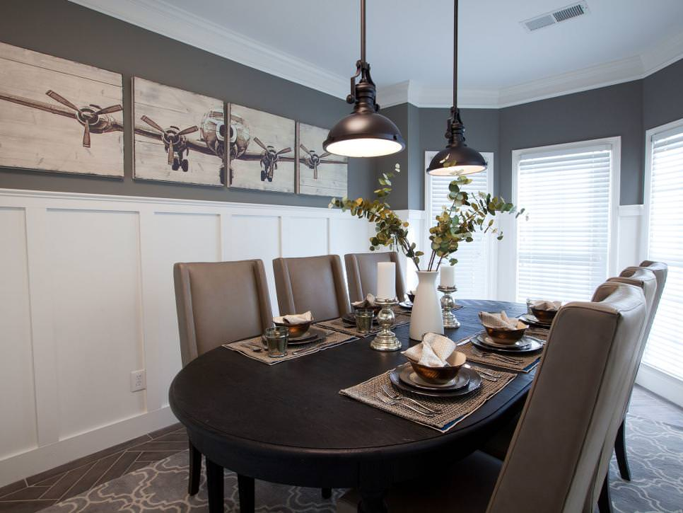 slate gray dining room design