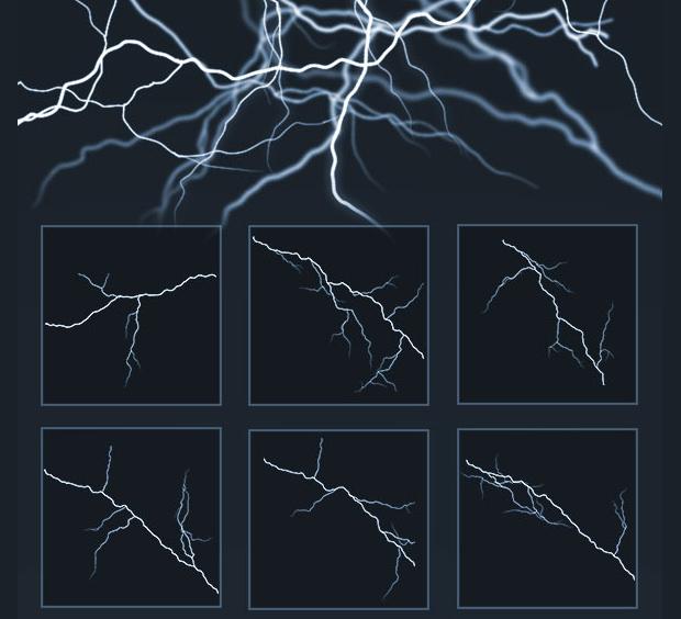 Pack of Shimmering Lightning Brushes