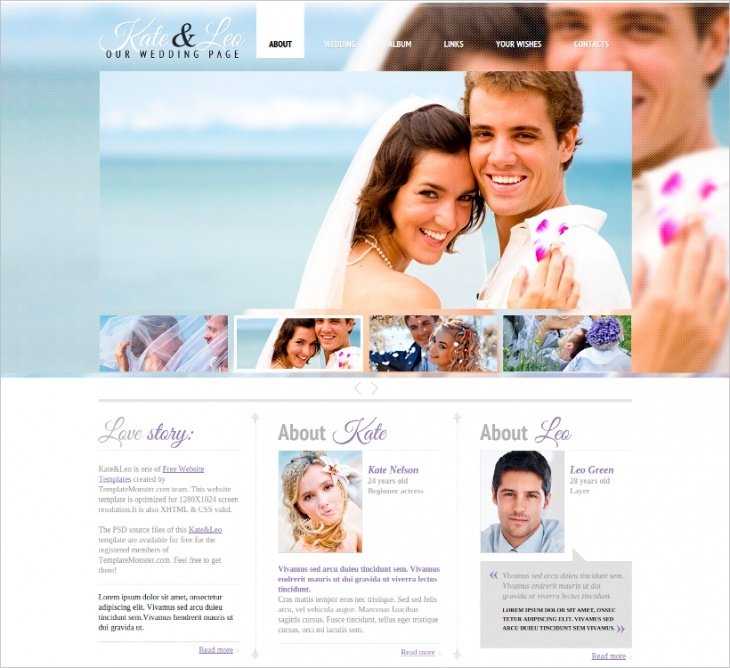 beautiful wedding website template