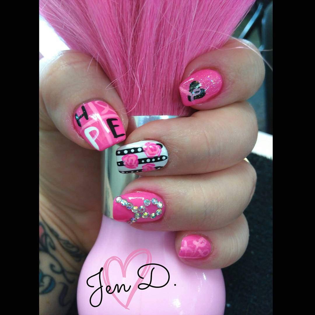 Pink Nail Dot Design