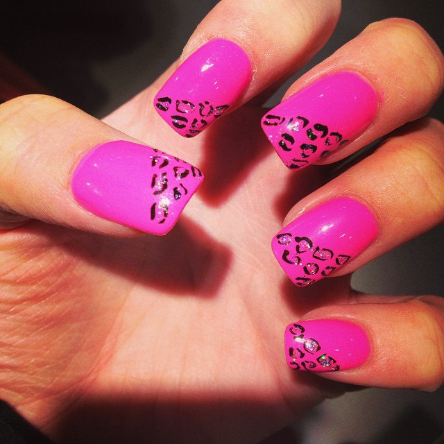 Printed Black Art on Pink Nails