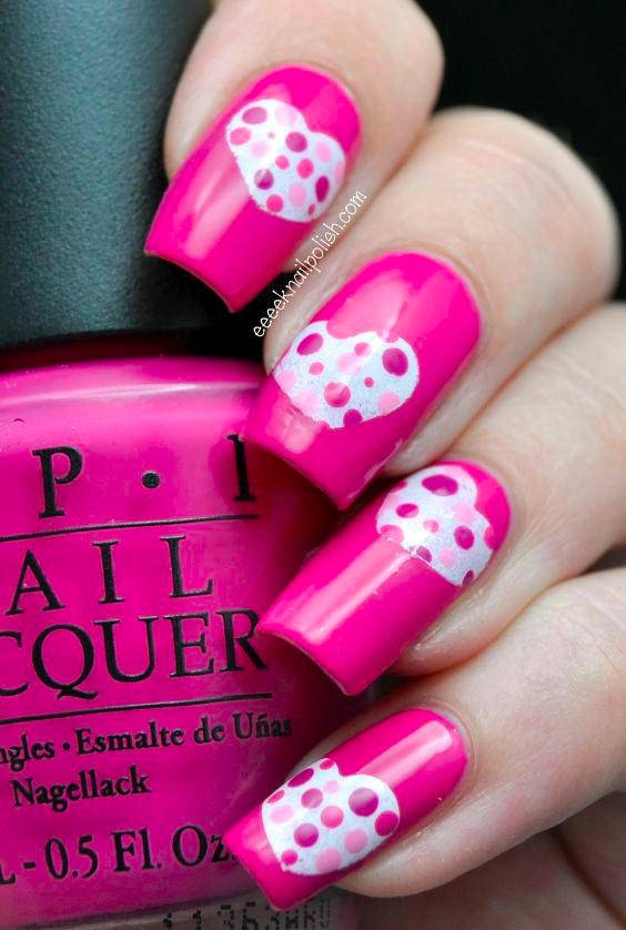 White Heart Nail Art on Pink Nails