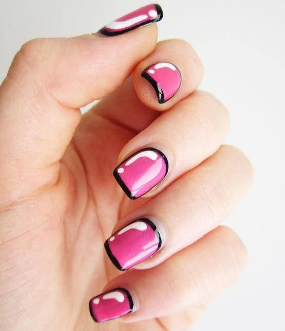 Pink and Black Combination Nail Design
