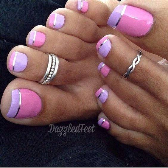 Toe Nail Design with Pink Polish