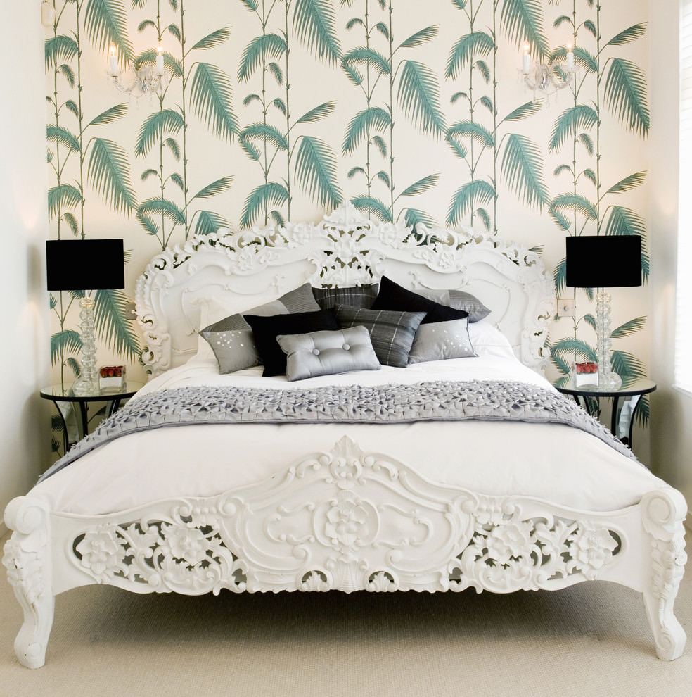 Bedroom with green flora wallpaper design