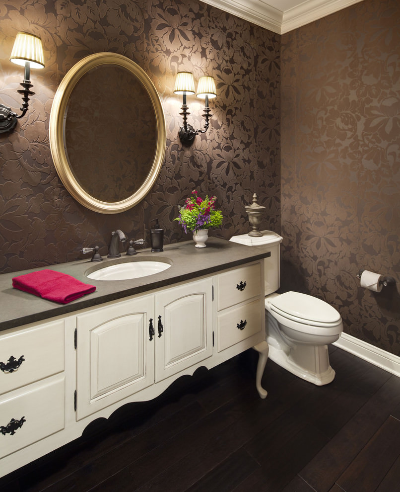 Traditional powder room with brown flora wallpaper design