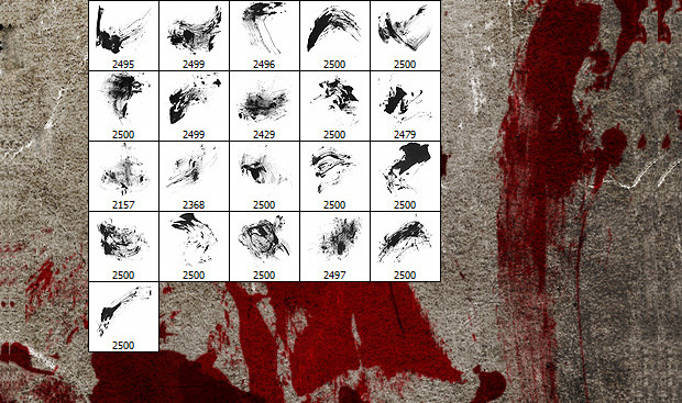 20 bloodstain photoshop brushes