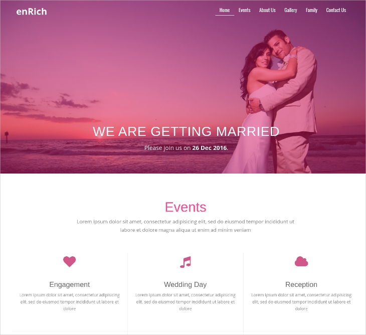single page website wedding template