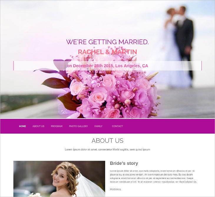 lovely wedding website template