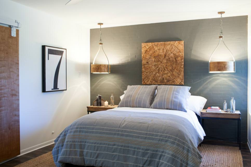 modern bedroom painted brick accent wall design