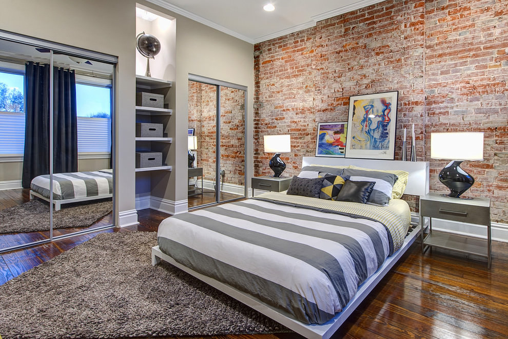 modern designed wall brick bedroom