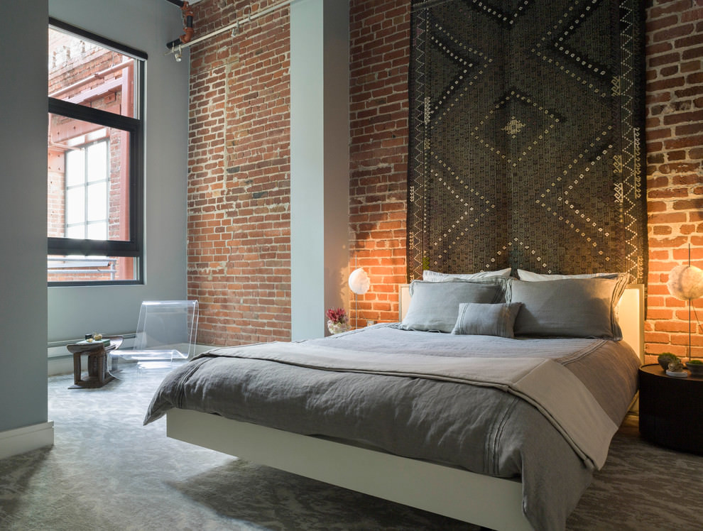23 brick wall designs decor ideas for bedroom design for Modern loft bedroom