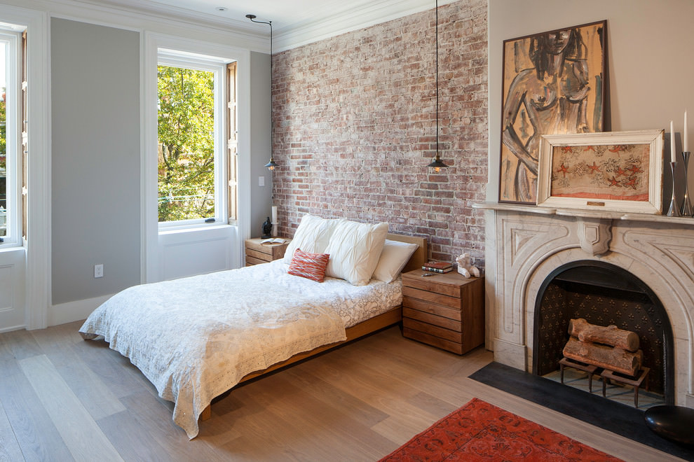 Transitional bedroom brick wall design
