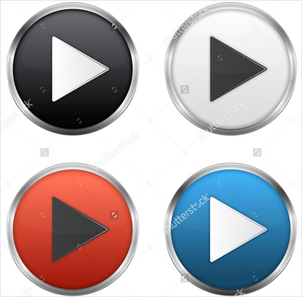 Different Colors Metallic Video Play Button