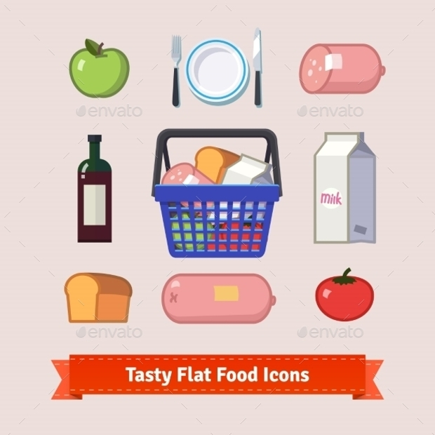 Groceries And Tasty Food Flat Icon Set