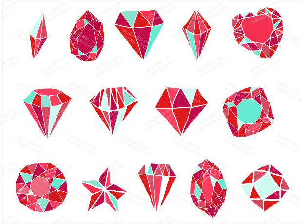 hand drawn diamond vectors