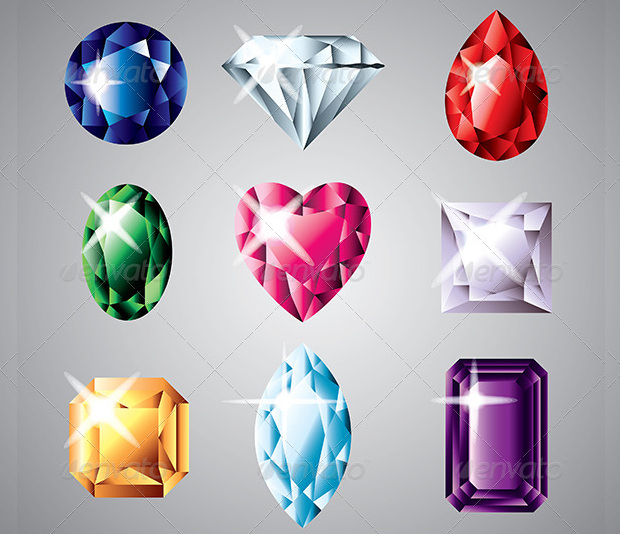 diamonds and gemstones vector set
