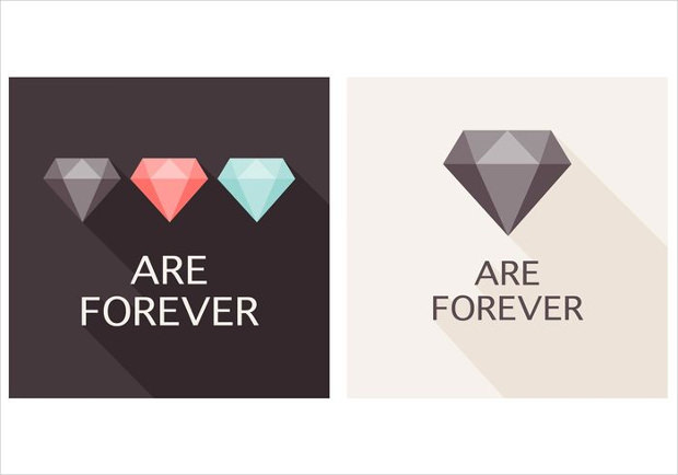 Flat Diamond Vectors
