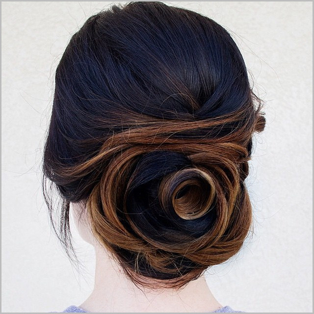 Flower Bun Hairstyle For Medium Hair