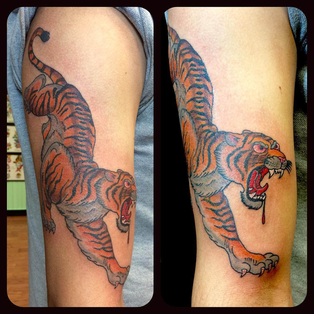 Wild Tiger Tattoo with Blood.