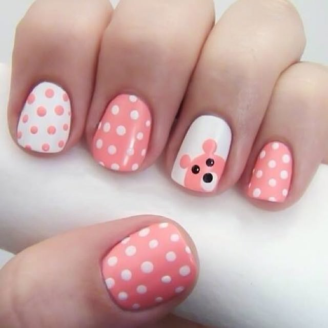 Dot Nail Arts on Pink Nails