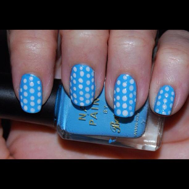 White Dots on Blue Background Nails