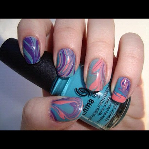 Rainbow Color Nice Nail Art