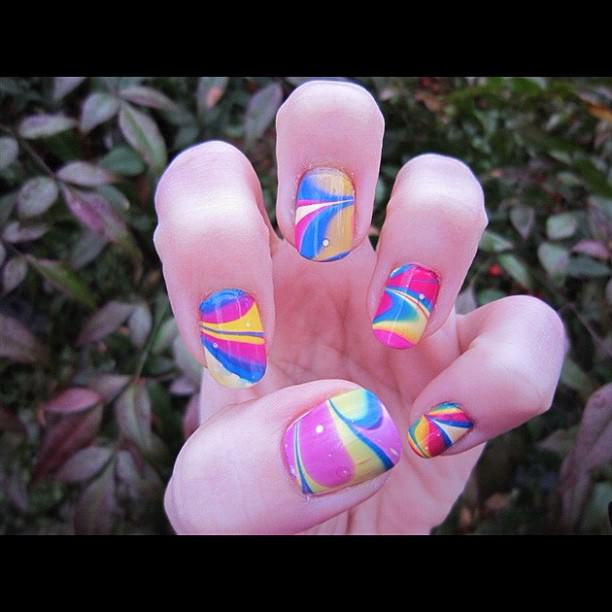 Nail Art with Rainbow Colors
