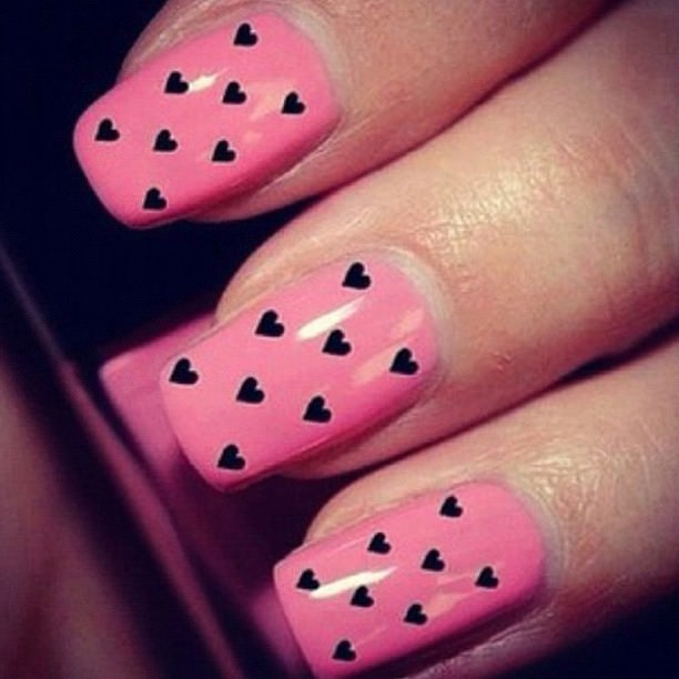 Black Hearts on Pink Nail Color