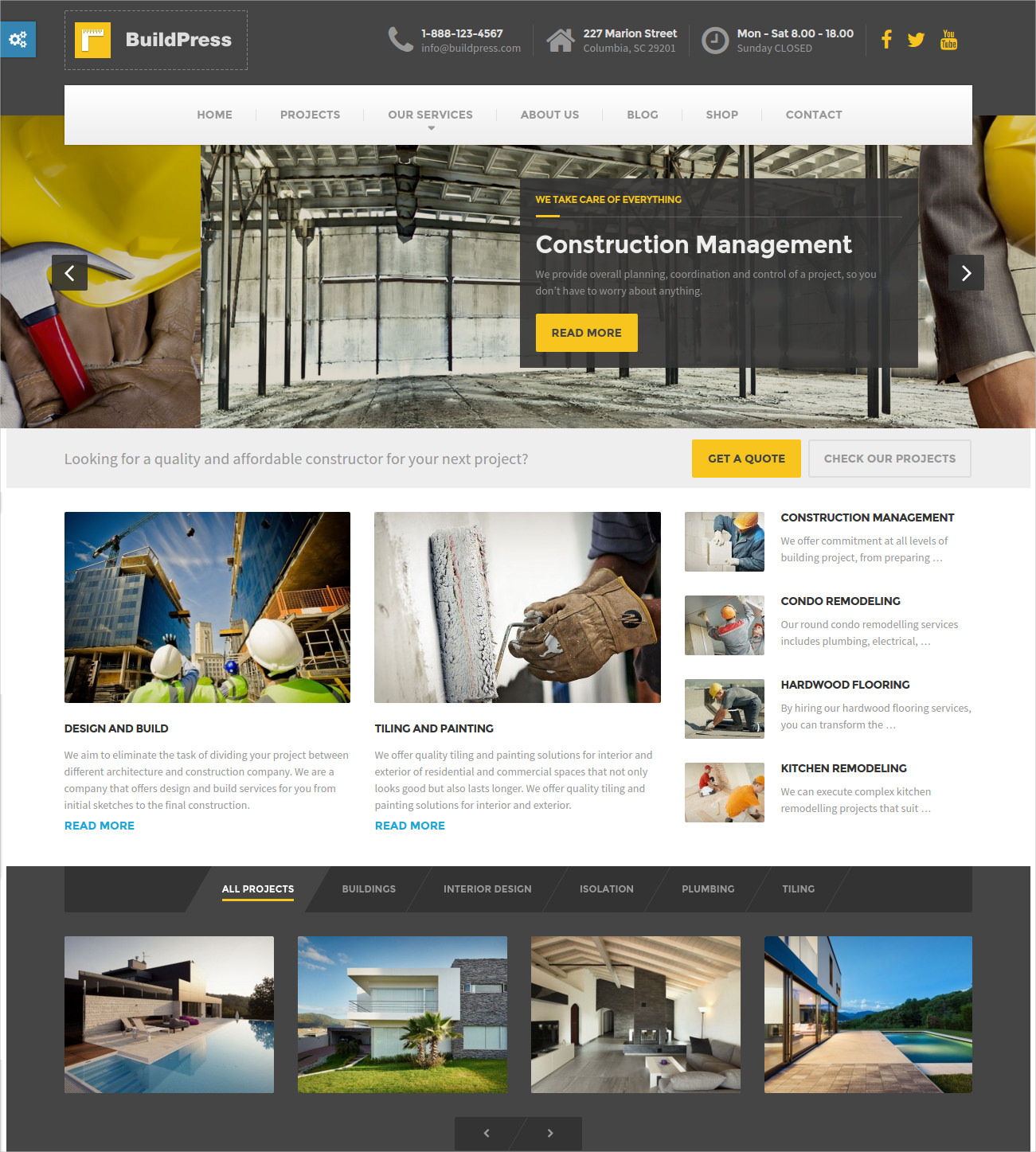 Construction Business WordPress Theme - $59
