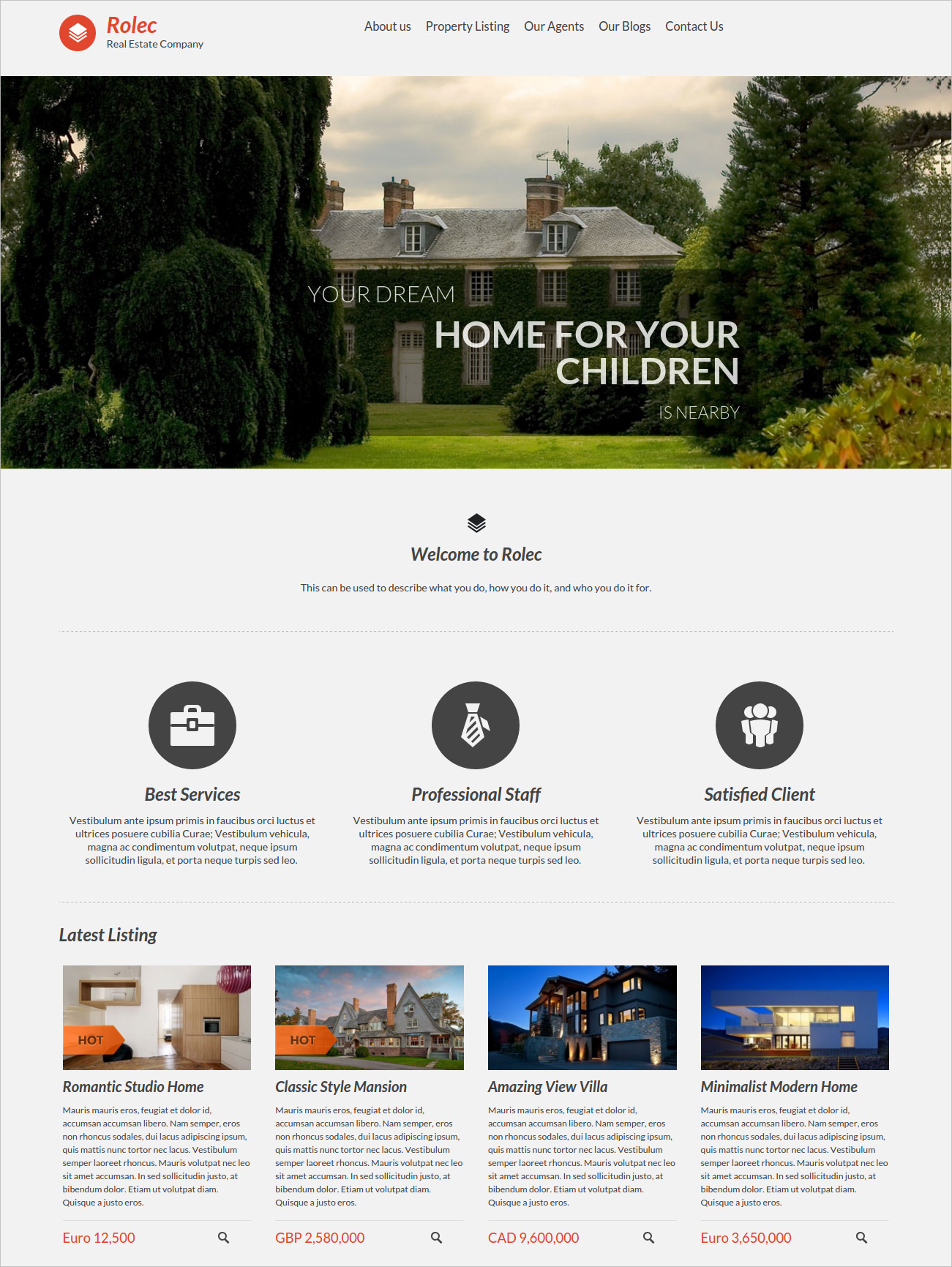 Responsive Real estate Business WP Theme - $49