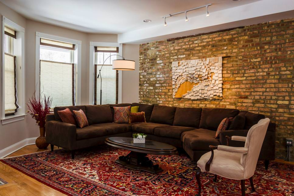 Contemporary Living Room With Brick Wall Feature design