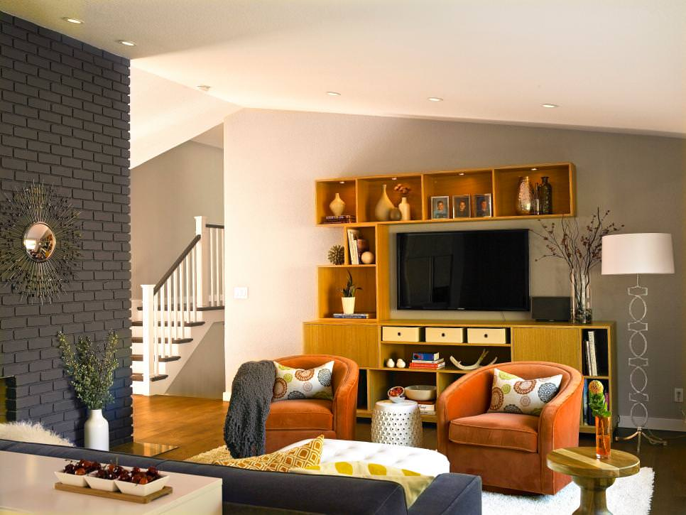 Contemporary Living Room With Gray Brick Wall