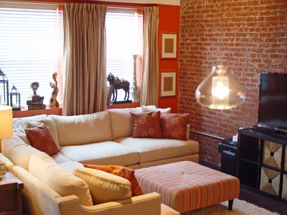 Contemporary Living Room with Exposed Brick Wall