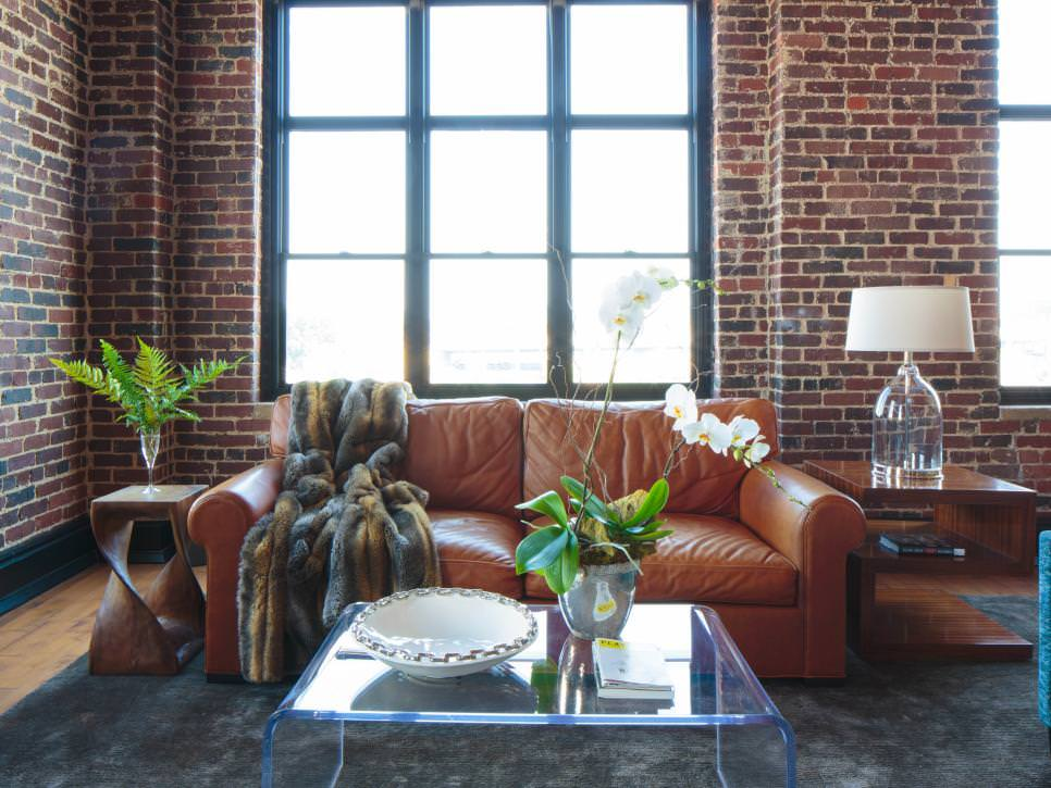 Living Room With red Brick Wall design