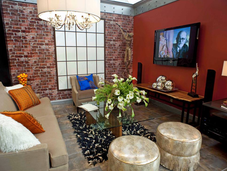 Loft-Style Living Room With Exposed Brick Wall