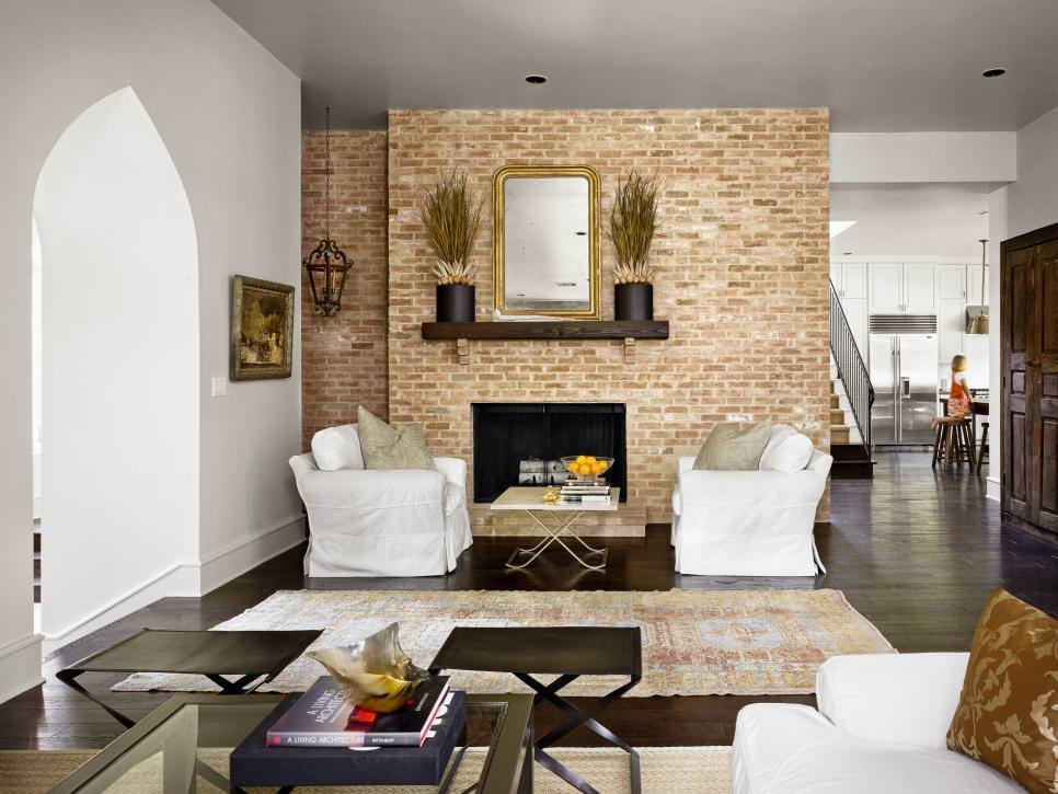 Minimal Living Room with Exposed Brick Wall