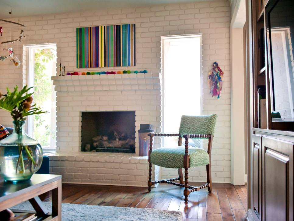 Modern Family living Room With Painted Brick Wall